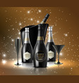 wineglass with a bottle champagne in a bucket o vector image vector image