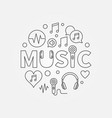 word music with line icons in circle shape vector image