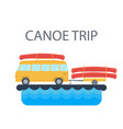 yellow bus for traveling and camping with a vector image
