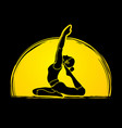 yoga pose designed on moonlight vector image vector image