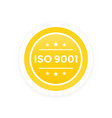 iso 9001 label vector image