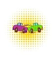 Car crash icon in comics style vector image