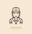 horse polo player in shirt and helmet flat line vector image