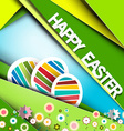 Happy Easter Green Retro Paper Card with Eggs and vector image