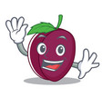 waving plum character cartoon style vector image