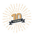 10 th anniversary retro emblem isolated vector image vector image