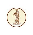 American Soldier Rifle Walking Circle Cartoon vector image vector image