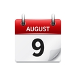 August 9 flat daily calendar icon Date vector image vector image