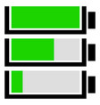 battery level indicator set flat battery icons vector image