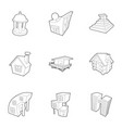 big city icons set outline style vector image vector image