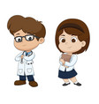 boy and girl in professions costume of doctor vector image