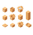 carton packaging boxes set isometric view vector image vector image