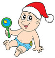 christmas baby with rattle vector image