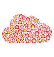 cloud collage of flower icons vector image vector image