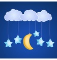 clouds moon and stars vector image vector image