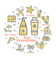 colorful icons in summer - sun protective cream vector image vector image