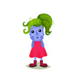 cute girl troll with green hair funny fairy tale vector image vector image