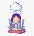 cute girl with books vector image vector image