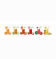 cute kawai smiling cartoon fruits juice vector image