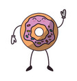 delicious donut cartoon vector image
