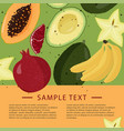 fresh fruits template bright food card vector image vector image