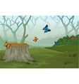 funny butterfly with deep forest landscape backgro vector image vector image