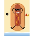Funny Hot-Dog on beach vector image