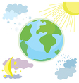 Globe weather icon with day and night vector image
