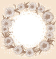 graphic monochrome flowers wreath vector image vector image