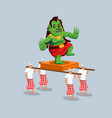 green evil giant statue parade in bali vector image vector image