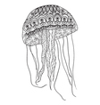 Hand-drawn jellyfish with zentangle- doodle patten vector image