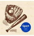 Hand drawn sport object Sketch baseball vector image vector image