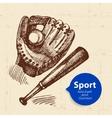 Hand drawn sport object Sketch baseball vector image vector image