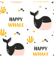 happy whale seamless pattern isolated on white vector image vector image
