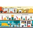 Harvest Farm Animals Products flat interior vector image
