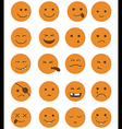 icons set 20 characters orange vector image