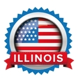 Illinois and USA flag badge vector image vector image