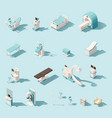 isometric low poly medical equipment set vector image vector image