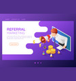 isometric web banner businessman come out from vector image