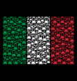 italian flag pattern of flask icons vector image
