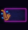 jazz music neon signboard in frame live vector image
