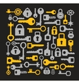 Keys and locks on a black vector image vector image