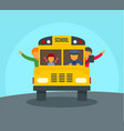 kids in school bus background flat style vector image