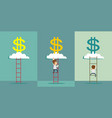 ladder to a money cloud vector image vector image
