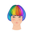 lgbt person with rainbow hair non binary asian vector image