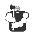 lumberjack strong isolated woodcutter and axe big vector image
