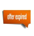 offer expired orange 3d speech bubble vector image vector image