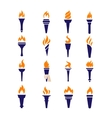 Olympic fire torch victory championship flame flat vector image