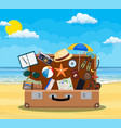 open baggage luggage suitcases vector image vector image