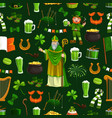 patricks day seamless pattern holiday vector image